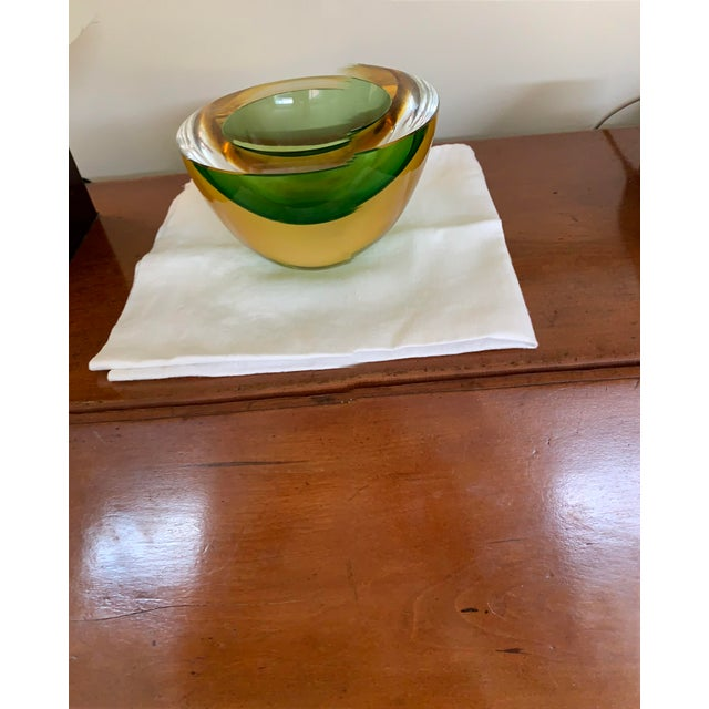 Glass Luigi Onesto Two-Tone Glass Bowl For Sale - Image 7 of 7