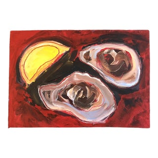 Original Contemporary Alexandra Brown Modernist Oysters With Lemon Oil Painting Small For Sale