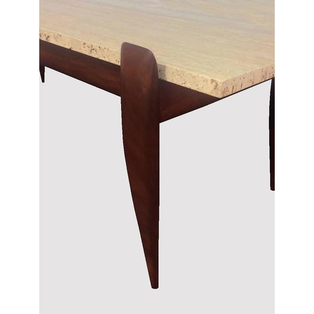 Gio Ponti for M. Singer & Sons Walnut and Travertine Coffee Table - Image 3 of 6