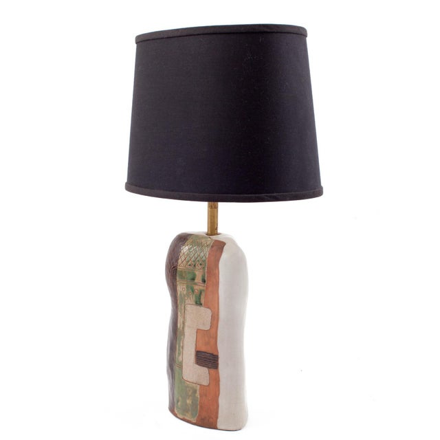 Abstract 1950s Vintage Marianna Von Allesch Cubist Ceramic Table Lamp For Sale - Image 3 of 6