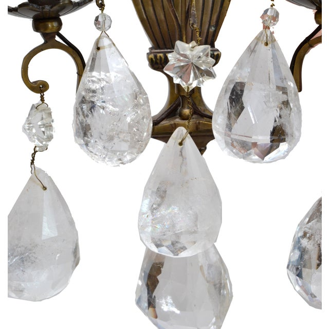 Bohemian Rock Crystal and Bronze Wall Sconces, A Pair For Sale - Image 4 of 9