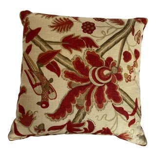 Lee Jofa Bloomsbury Red/Gold Fabric Square Throw Pillow For Sale