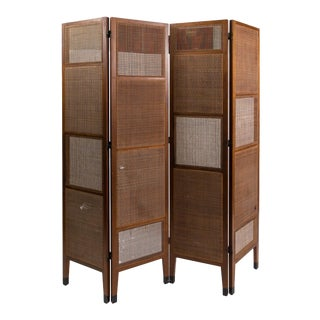 Very Rare 1950's Walnut and Cane Screen by Edward Wormley For Sale