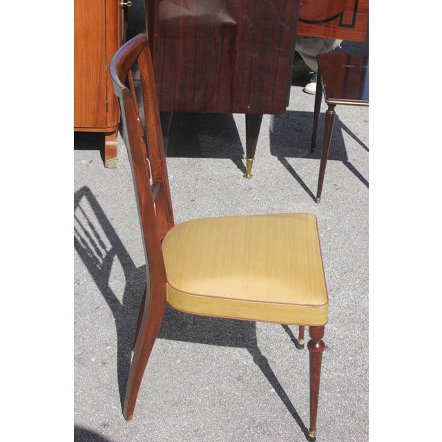 Set of Six French Art Deco Solid Mahogany Dining Chairs, circa 1940s - Image 5 of 9