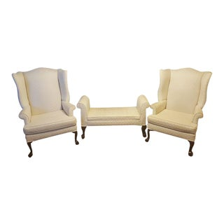 Antique White Wingback Chairs With Ottoman Bench - Set of 3