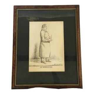 "Vintage ""Mr. Hobhouse"" Male Dandy Portrait Lithograph For Sale"