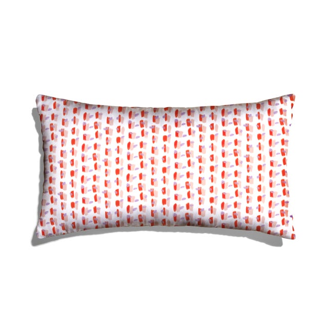 Modern Pepper Poppy in Pink Lumbar Pillow For Sale - Image 3 of 3