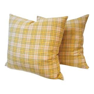 Pendleton Yellow Plaid Blanket Pillows - Pair For Sale
