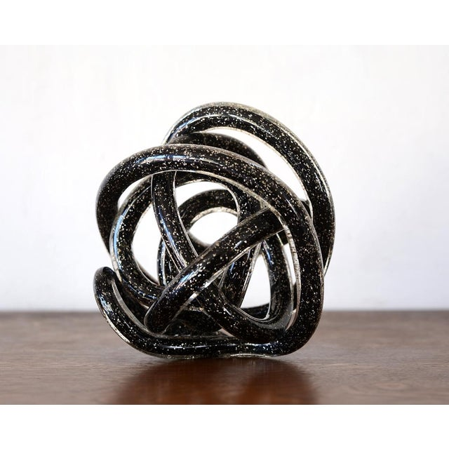 Mid 20th Century Vintage Black Murano Abstract Twisting Blown Glass Tube Sculpture For Sale - Image 5 of 10