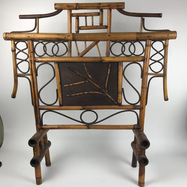 Brown Vintage Bamboo Standing Fireplace Screen Table Top Room Screen For Sale - Image 8 of 9