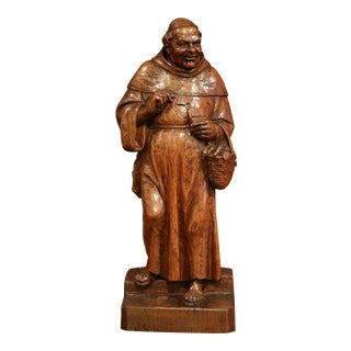 19th Century French Hand-Carved Patinated Elm Monk Sculpture For Sale