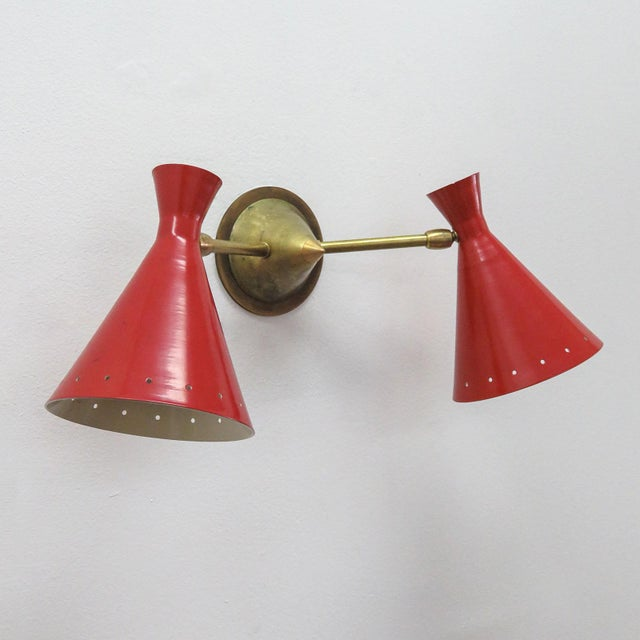 Red Italian Double Wall Light - Image 4 of 10