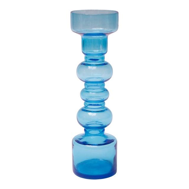 Scandinavian Modern Turquoise Blown Glass Hooped Vase For Sale