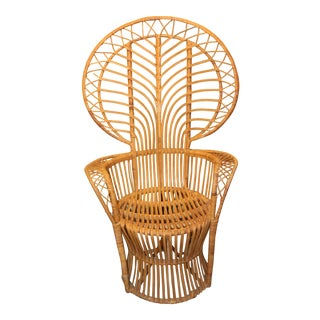 Vintage Mid Century Rattan Peacock Chair For Sale