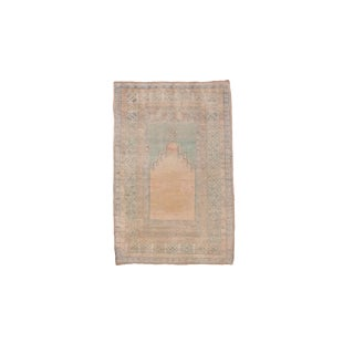 "1930's Antique Turkish Oushak Prayer Rug-3'7'x5'4"" For Sale"
