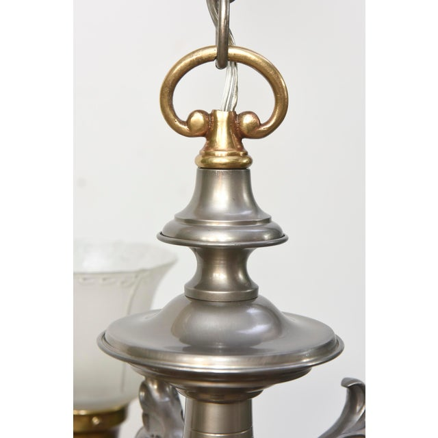 Five Light Pewter and Brass Colonial Revival Chandelier For Sale - Image 4 of 12