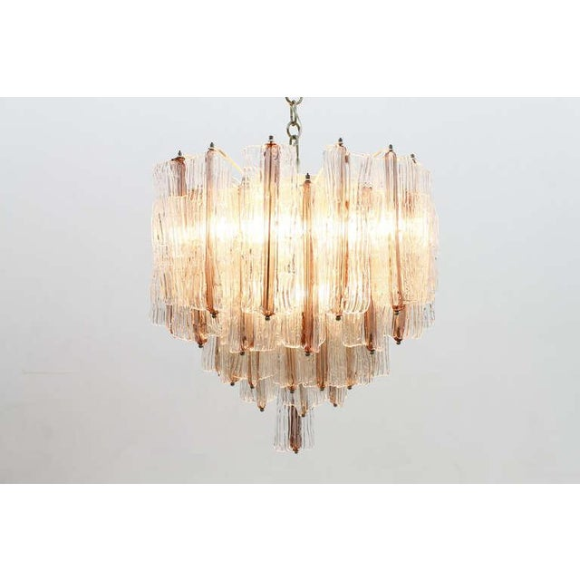 Large two-tone pink and white Venini Murano chandelier with 52 glass items by Toni Zuccheri, Italy, circa 1960s....