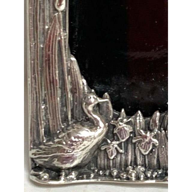 Silver English Sterling Duck Motif Small Frame, Birmingham, 1985 For Sale - Image 8 of 12