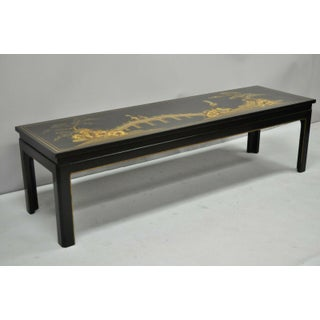 20th Century Chinoiserie Beacon Hill Collection George III Black Lacquer Painted Coffee Table Preview