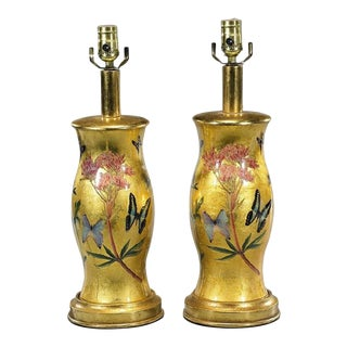 Modern Designer Gold Decoupage Table Lamps - a Pair