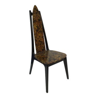 Gothic Ebonized Back Side Chair With Original Vinyl Upholstery . For Sale