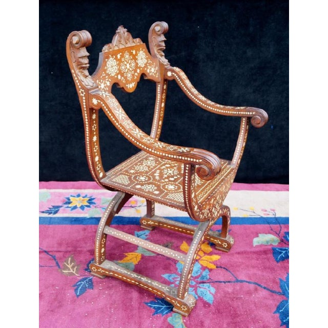 Moroccan Inlaid Savonarola Chair - Image 3 of 11
