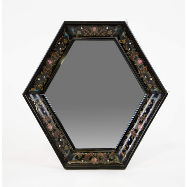 Italian Style Painted and Brass Inlaid Hexagonal Wall Mirror For Sale - Image 12 of 12