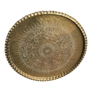 Vintage Moroccan Style Engraved Brass Tray For Sale