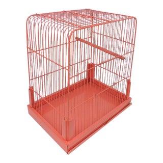 Vintage Pink Metal Bird Cage