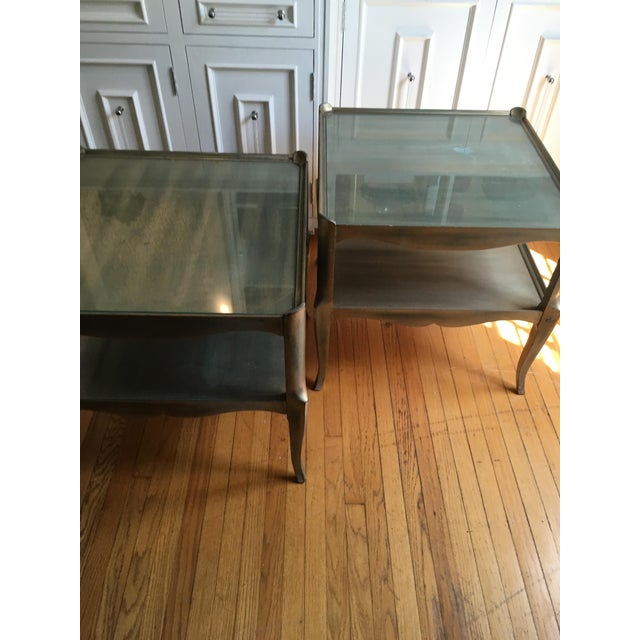 Leafed Glass Top Side Tables - a Pair For Sale - Image 10 of 13