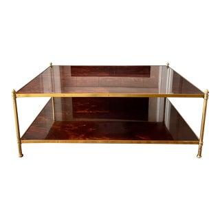 Ralph Lauren Home Mahogany & Brass Rectangular Coffee Table For Sale