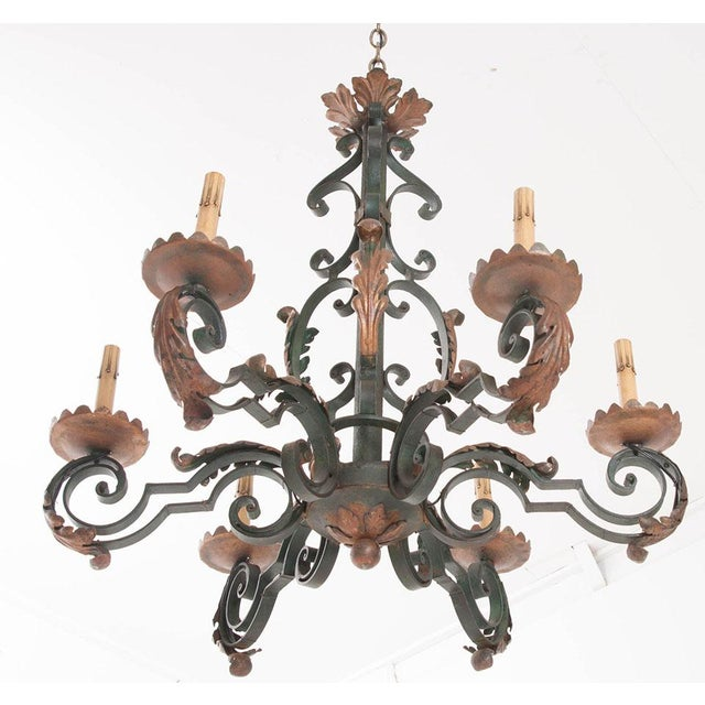 French 19th Century Painted Iron Chandelier - Image 4 of 7