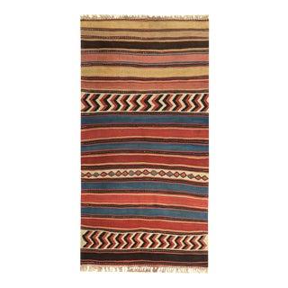 Modern Turkish Kilim Rug With Red & Blue Tribal Design on Beige Field For Sale