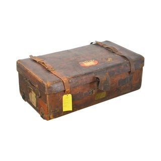 Antique Leather Travelers Trunk or Large Suitcase For Sale