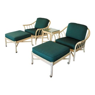 McGuire Lounge Chairs, Ottomans & Table For Sale