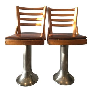 Industrial Metal Base and Leatherette Seats - A Pair For Sale