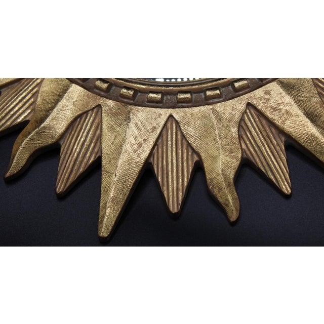 Vintage Golden Gilt Convex Sunburst Mirror For Sale - Image 6 of 11