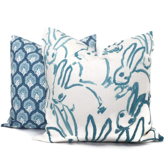 Contemporary Aqua Bunny Pillow Cover in Hutch by Lee Jofa For Sale - Image 3 of 5