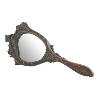 Antique Victorian Asian-Inspired Wood Hand MIrror For Sale