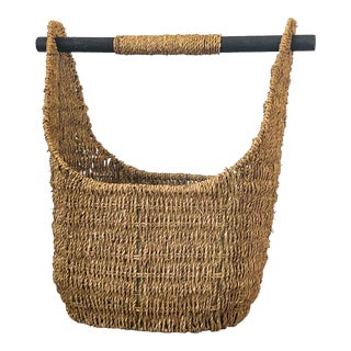 Vintage Woven Basket With Removable Wood Handle For Sale
