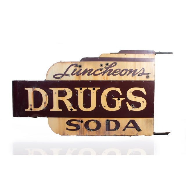 Ceramic 1910s Industrial Soda Fountain & Drug Store Sign For Sale - Image 7 of 7