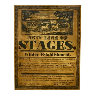 "Vintage ""New Line of Stages"" Advertisement on Wood Panel For Sale"