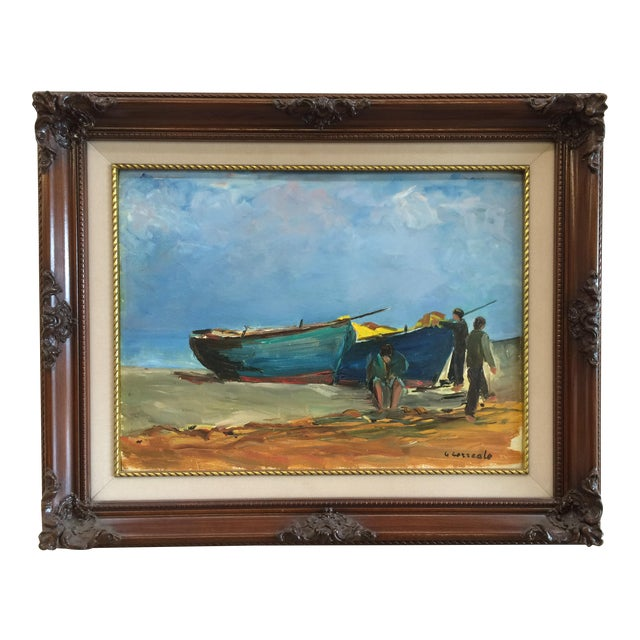 'Boats on the Beach' Oil For Sale