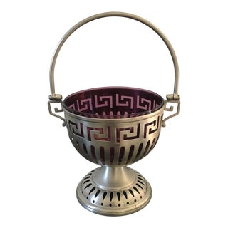 Vintage Purple Glass Serving Dish With Greek Key Reticulated Pewter Holder For Sale