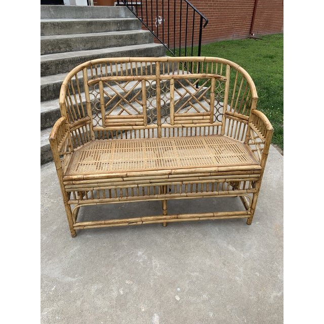 Chinese Chippendale Brighton Style Bamboo Bench For Sale - Image 12 of 12