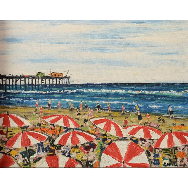 Santa Monica Pier Beach Scene 1950s Oil Painting - Image 3 of 10