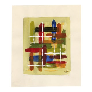 Mid-Century French Abstract Watercolor on Paper For Sale