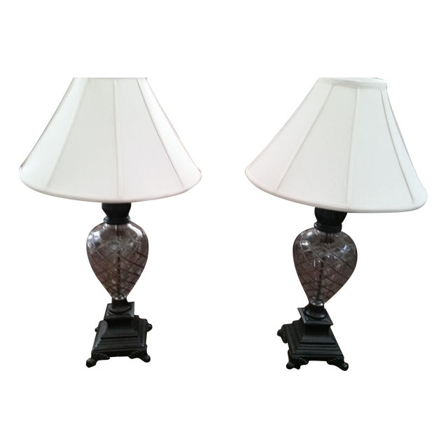 Ethan Allen Etched Crystal Lamps - Pair - Image 1 of 4