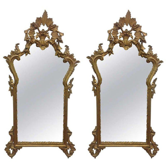 Pair of French Antique Hand-Carved Wooden Gilded Mirrors For Sale In New York - Image 6 of 6