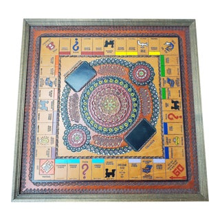 Vintage Embossed Leather and Wood Monopoly Game Board For Sale